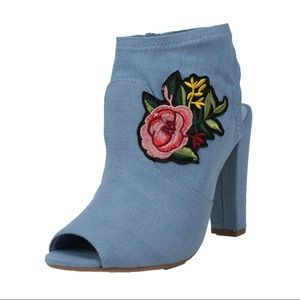 Shoes - Denim blue Open toe patched block heel ankle boot